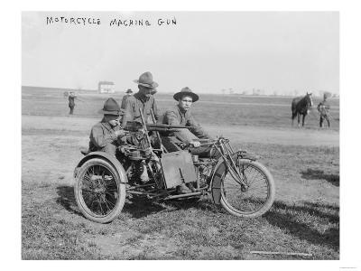 Military Motorcycle with Sidecar and Machine Gun Photograph-Lantern Press-Art Print