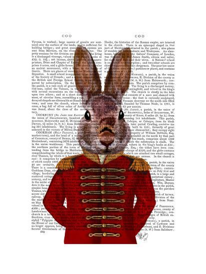 Military Rabbit in Red-Fab Funky-Art Print