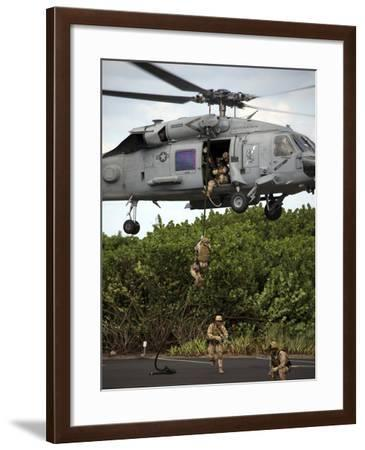 Military Reserve Navy SEALs Demonstrate Fast-roping from a SH-60 Seahwak-Stocktrek Images-Framed Photographic Print
