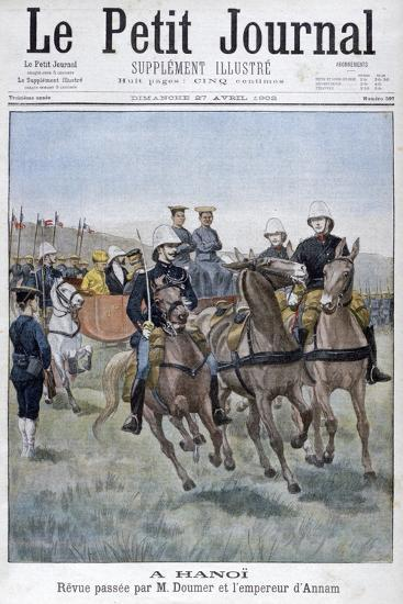 Military Review by Paul Doumer and the Emperor of Annam, Hanoi, Indochina, 1902--Giclee Print