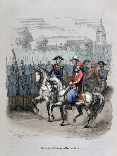 Military Review with Ibrahim Pacha, Champ De Mars, Paris, C1846-Gerard Corbiau-Giclee Print