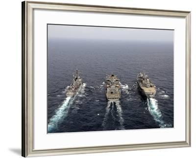 Military Ships Conduct An Underway Replenishment in the Pacific Ocean-Stocktrek Images-Framed Photographic Print