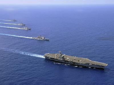Military Ships Operate in Formation in the South China Sea-Stocktrek Images-Photographic Print