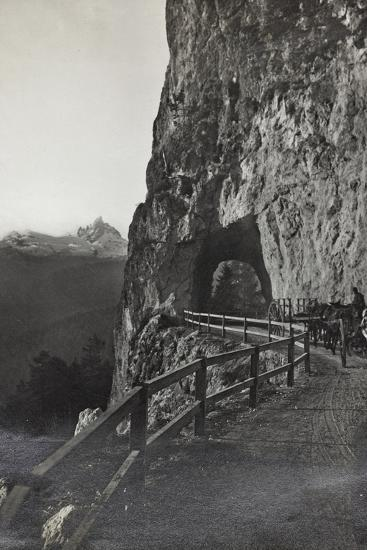 Military Tank in a Mountain Road Between Cortina D 'Ampezzo Falzarego--Photographic Print