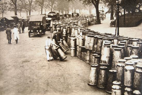 Milk churns being delivered to Hyde Park, London, during the General Strike, 8 May 1926-Unknown-Photographic Print