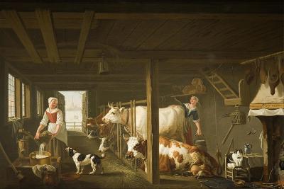 Milking in Winter-Jan van Gool-Giclee Print