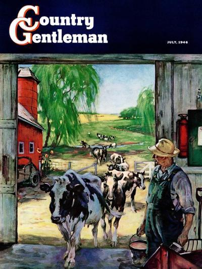 """Milking Time,"" Country Gentleman Cover, July 1, 1946-Matt Clark-Giclee Print"