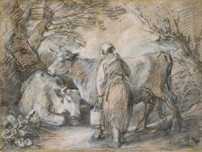 Milkmaid with Two Cows (Black Chalk and Stump Heightened with White-Thomas Gainsborough-Giclee Print