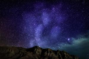 Milky Way Galaxy with Aurora Borealis or Northern Lights, Kjalarnes, Reykjavik, Iceland