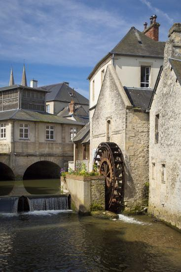 Mill Along River Weir and Medieval Town of Bayeux, Normandy France-Brian Jannsen-Photographic Print