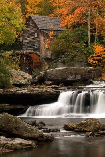 Mill and Fall Colors-Lantern Press-Wall Mural
