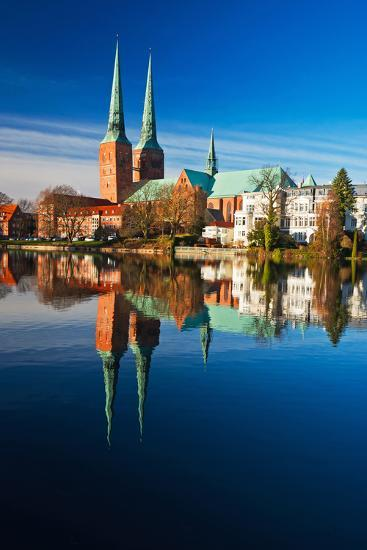 Mill Pond in LŸbeck, Cathedral, Reflexion-Thomas Ebelt-Photographic Print