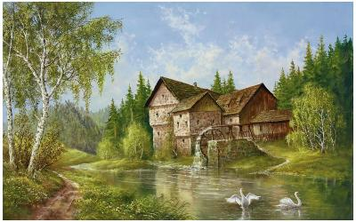 Mill With Swans-Helmut Glassl-Art Print