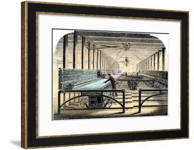 Mill Worker Tending Mule-Spinners, an Industrial Textile Machine, c.1800--Framed Giclee Print