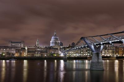 Millenium Bridge, Night Photography, St Paul's Cathedral, the Thames, London, England, Uk-Axel Schmies-Photographic Print