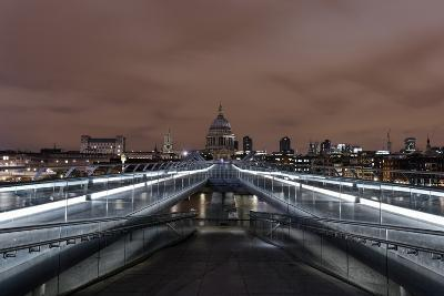 Millenium Bridge, Night Photography, St. Paul's Cathedral, the Thames, London-Axel Schmies-Photographic Print