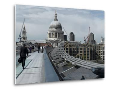 Millenium Bridge, Southbank, Southwark, and the Dome of St Pauls Cathedral-Richard Bryant-Metal Print