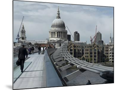 Millenium Bridge, Southbank, Southwark, and the Dome of St Pauls Cathedral-Richard Bryant-Mounted Photographic Print
