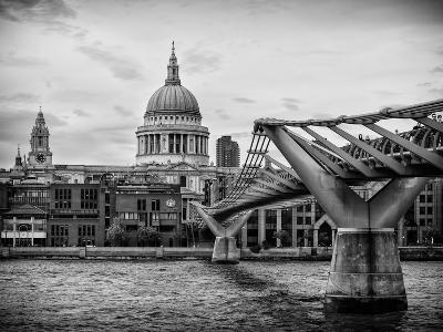 Millennium Bridge and St. Paul's Cathedral - City of London - UK - England - United Kingdom-Philippe Hugonnard-Photographic Print