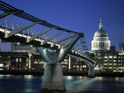 Millennium Bridge and St. Paul's, London, England-Alan Copson-Photographic Print