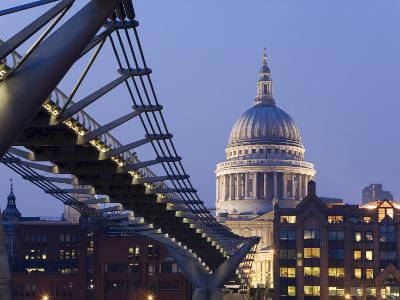 Millennium Bridge and St. Pauls Cathedral, Illuminated at Dusk, London, England, United Kingdom-Gavin Hellier-Photographic Print