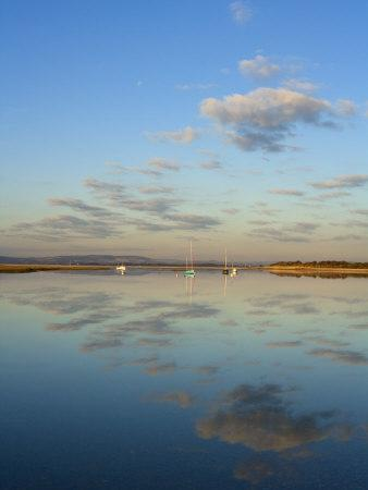 Boats Moored at East Head, West Wittering, Near Chichester, West Sussex, England, United Kingdom