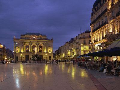 Pavement Cafes on the Place De La Comedie, Montpellier, Languedoc Roussillon, France