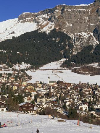 Ski Resort of Flims in Winter with Snow on the Ground in the Graubunden Region of Switzerland