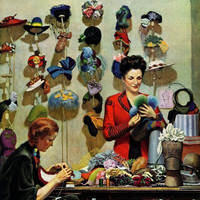 """Millinery Shop,"" March 10, 1945-John Falter-Premium Giclee Print"