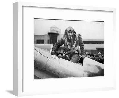 Millionaire Howard Hughes Boarding Hughes H-1 Special Airplane, Transcontinental Flight to NJ--Framed Premium Photographic Print