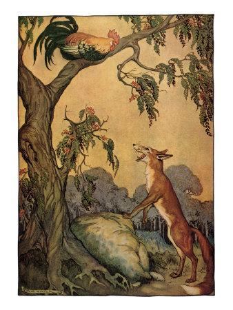 Fox and Rooster in Tree, 1919