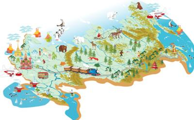 Cartoon Vector Map of Russia with a Symbol of Moscow - St. Basil's Cathedral, a Symbol of St. Peter by Milovelen