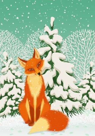 Sitting Red Fox in the Winter Forest by Milovelen