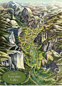 Map of Yosemite Valley - National Park by Milton Cavagnaro & Leo Holub
