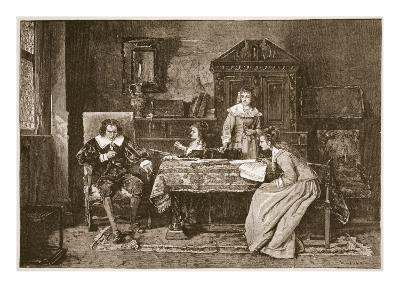 Milton Dictating 'Paradise Lost'-Mihaly Munkacsy-Giclee Print