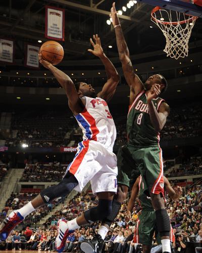 Milwaukee Bucks v Detroit Pistons: Rodney Stuckey and Larry Sanders-Allen Einstein-Photo