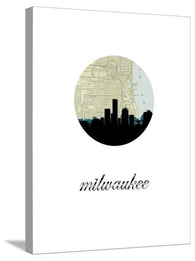 Milwaukee Map Skyline-Paperfinch 0-Stretched Canvas Print