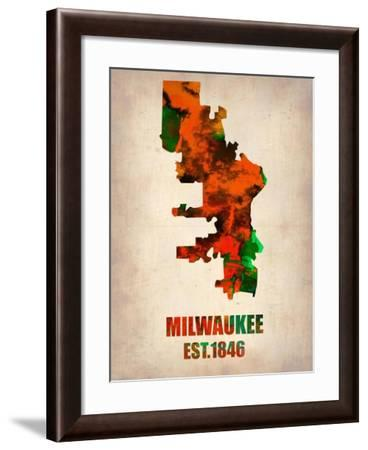 Milwaukee Watercolor Map-NaxArt-Framed Art Print