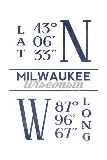 Milwaukee, Wisconsin - Latitude and Longitude (Blue)-Lantern Press-Art Print