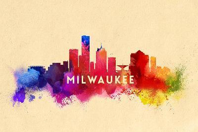Milwaukee, Wisconsin - Skyline Abstract-Lantern Press-Art Print