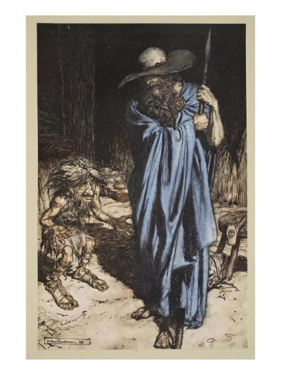 Mime and the Wanderer, from 'Siegfried and The Twilight of the Gods', 1910-Arthur Rackham-Giclee Print