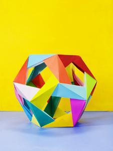 Modular Origami Sculpture on Colorful Background by Mimi Haddon
