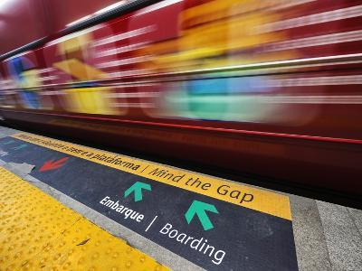 Mind the Gap Sign in a Metro Rio Station.-Jon Hicks-Photographic Print