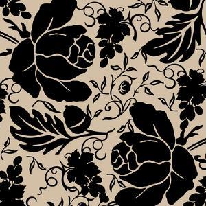Grapes and Buds Black and Beige by Mindy Sommers