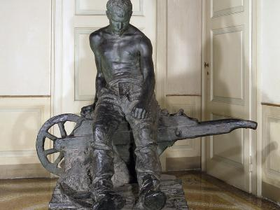 Miner, 1888, by Enrico Butti (1847-1932), Bronze, Italy, 20th Century--Giclee Print