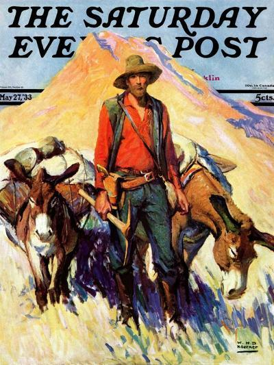 """""""Miner and Donkeys,"""" Saturday Evening Post Cover, May 27, 1933-William Henry Dethlef Koerner-Giclee Print"""