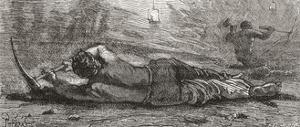 Miner Digging at Coal Mine Coalface in the 19th Century. from the National Encyclopaedia
