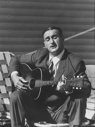 Miner Maurice Ruddick Playing Guitar-Carl Mydans-Photographic Print