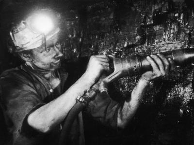 Miner Using an Hydraulic Drill at the Coal-Face, at Cape Bank Hall Pit, Burnley, in Lancashire-Henry Grant-Photographic Print