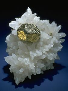 MineralCalendar: Pyrite on Quartz Crystals. Huanzala, Peru